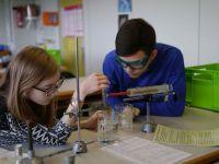 Schülergruppe bei Enzymversuchen